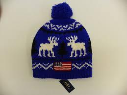American Flag Beanie Polo Ralph Lauren 100 Wool Reindeer Flag Beanie Ski Cap Hat Blue