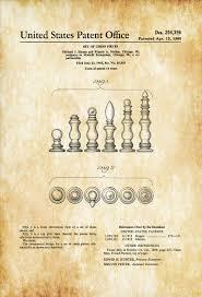 chess piece set patent print game room decor game night