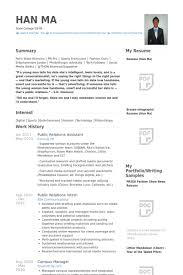 Public Relations Resume Template Public Relations Assistant Resume Samples Visualcv Resume