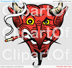 royalty free rf clipart illustration of a red devil face smoking