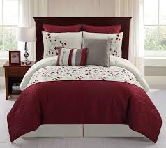 Red And White Comforter Sets 8 Piece Embroidered Comforter Set Sadie