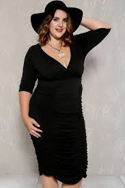 plunging neckline black ruched plunging neckline plus size party dress