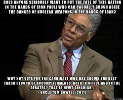 Newt Gingrich Meme - libertarian hero thomas sowell hated ron paul and loved newt