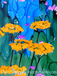 yarrow and cone flower paintings