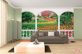 terrace view with beautiful tulips garden wallpaper terrace view with beautiful tulips garden
