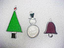 stained glass ornaments set of 3 and seasonal
