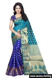 saree blouse multi color cotton silk jacquard saree with blouse
