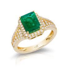 ring gold 14k yellow gold diamond emerald ring
