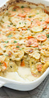 garlic parmesan scalloped potatoes and carrots recipe