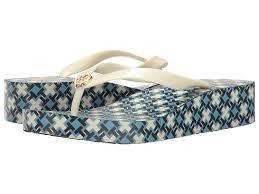 great price tory burch wedge flip flop women shoes coastline blue