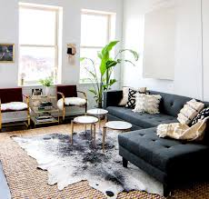 Modern Cowhide Rug Gray Sofa With Modern Coffee Tables Cowhide Rug And Indoor