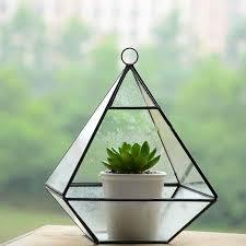 Crystal Glass Vase Aliexpress Com Buy Sibaolu Diamond Shape Crystal Glass Flower
