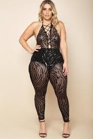 jumpsuit for plus size plus size halter mesh sequin lace up jumpsuit dresses gs