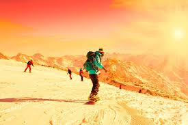 snowboard winter rides sunset stock photo image 84662206