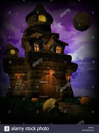 3d render of a spooky halloween castle stock photo royalty free