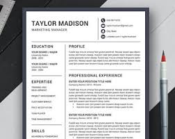 Modern Professional Resume Template Professional Resume Template Cv Template Cover Letter Ms