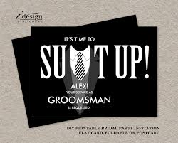groomsmen invitations printable groomsman card suit up black tuxedo bridal