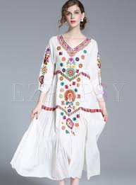 ethnic v neck embroidered maxi dress ezpopsy