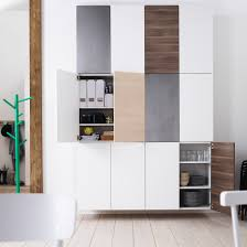 wall of double door ikea kitchen cabinets stacked two wide and