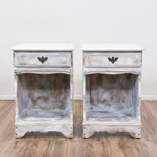 these shabby chic nightstands are featured in a solid wood with a