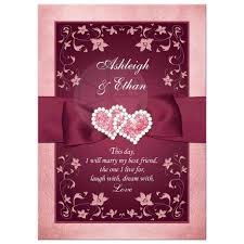 burgundy blush wedding invitation printed ribbon jewels
