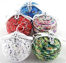 recycled paper bead ornaments from three steps
