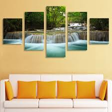 living room canvas 5 panel waterfall painting canvas wall art picture home decoration