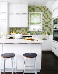 Blue Glass Kitchen Backsplash Kitchen Backsplashes Green Colored Backsplash With White Kitchen