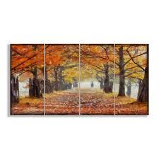 a walk through the autumn trees 4 canvas wall set