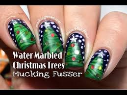 water marbled christmas tree nail art tutorial youtube