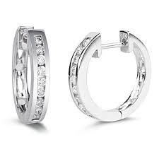 white gold huggie earrings 0 30 0 34 cts si2 i1 clarity and i j color diamond huggie