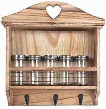 wooden wall hanging wooden spice rack 26x29x7cm 5 jars included 3 hooks wall hanging