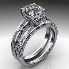 wedding set rings ring 2 carat cushion cut neo moissanite engagement and