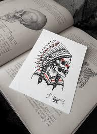 amerindian skull traditional flash by blacksmithtattoo on