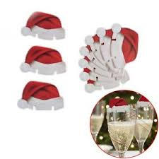 10 santa hat wine glass decorations christmas table place name
