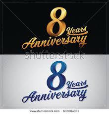 8th wedding anniversary eight years anniversary celebration logotype 8th stock vector