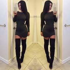 dress black dress grey grey sweater thigh high boots boots