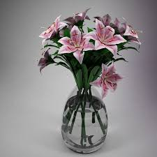 Pink Lily Flower Pink Lily Flowers Glass Vase