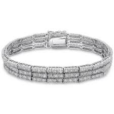 sterling silver bracelet with diamonds images Diamond 3 strand bracelet 2ct tdw on sterling silver jpg