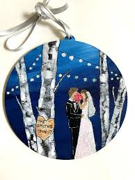Personalized Ornaments Wedding Wedding Gift Wedding Gift For Couple Hand Painted Ornament
