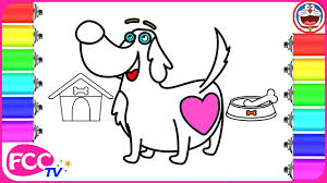 baby learn how to draw dog dog house coloring pages for kids