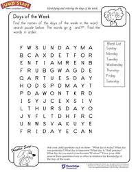 days of the week u2013 kindergarten english worksheets u2013 jumpstart