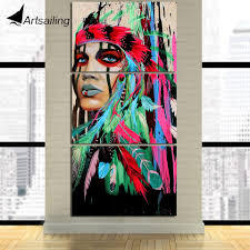 aliexpress com buy hd printed 3 piece canvas art native american aliexpress com buy hd printed 3 piece canvas art native american indian feathered painting wall pictures for living room free shipping ny 7233d from