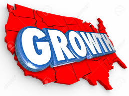 Map Of The Untied States Growth Word On A Red 3d Map Of The United States Of America To