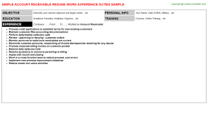 Sample Resume Accounts Receivable Account Receivable Resume Sample