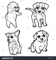 set cartoon cute dog coloring page stock vector 683735692