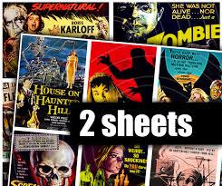retro horror digital printable collage sheet vintage horror