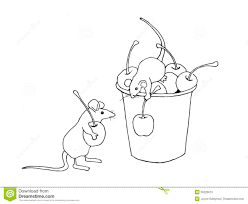 mice gathering cherries coloring page hand drawn stock