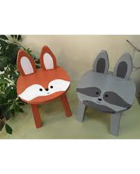 winter savings on woodland kids furniture chair set 2 raccoon fox