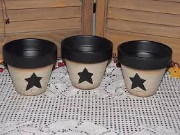 primitive clay pot containers crackle black star farmhouse country